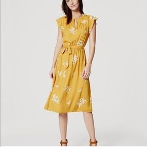 Loft yellow floral midi dress